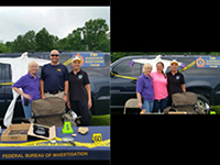 Left photo: FBI-COS Lori Chauvin with daughter Kaitlin Chauvin and FBICA alumni Susan Davis. Right photo: FBI-COS Lori Chauvin, FBI-PAS Craig Betbeze, FBICA alumni Susan Davis.